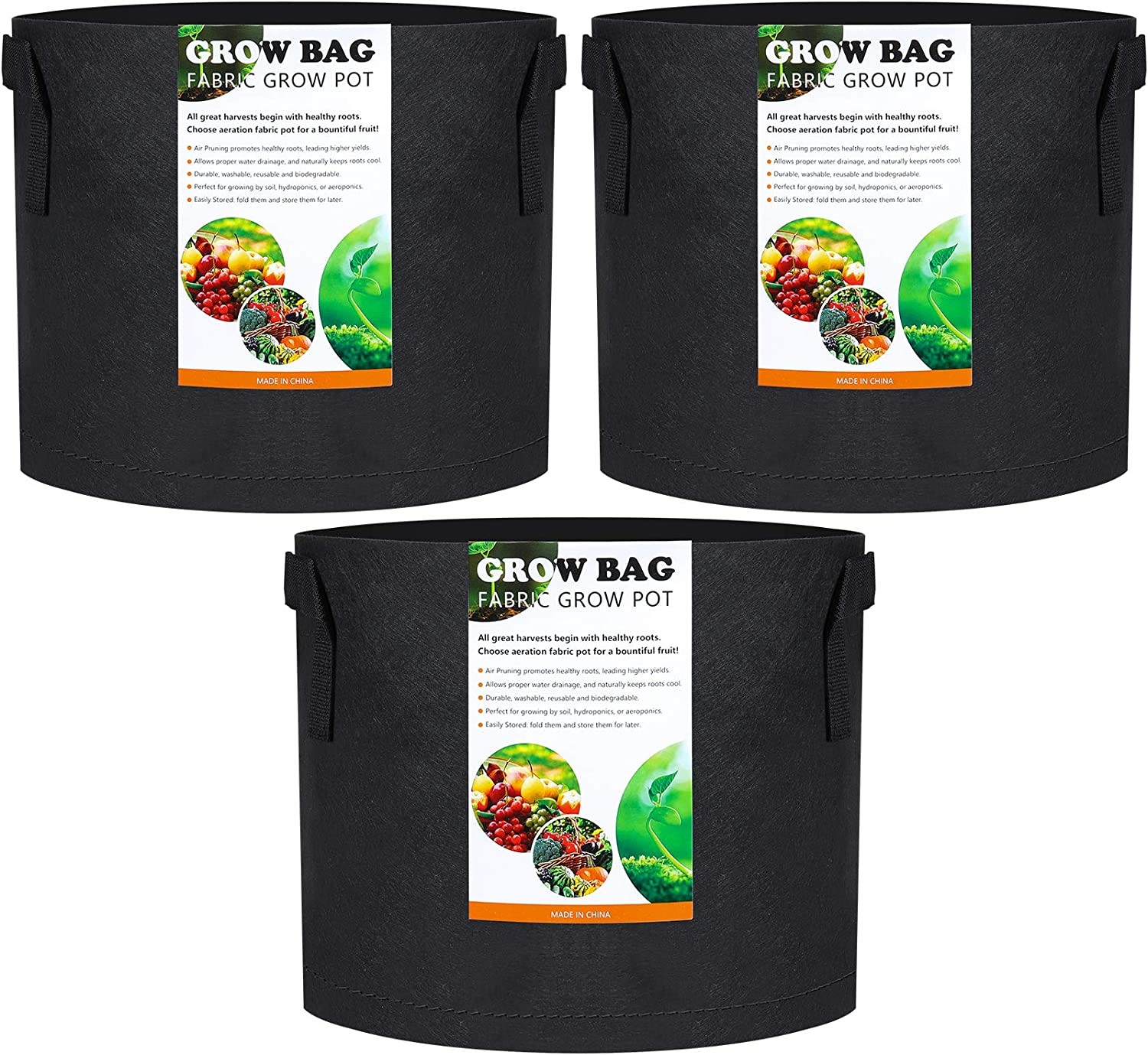 VREAONE 3-Pack 5 Gallon Grow Los Angeles Mall Nonwoven Plant Fabri Ranking TOP18 Bags Thickened