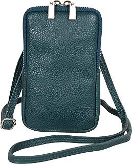 AmbraModa GLX17 - bolso de bandolera, bolso para celular, bolso de piel genuina con bandolera extraíble y ajustable, apto ...