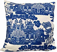 Hsdfnmnsv Blue Willow Chinoiserie Porcelain Inspiration Custom Cotton Linen Throw Pillow Case Cushion Cover New Home Decor...