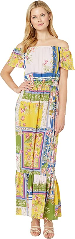 Mixed Print Off the Shoulder Crepe Maxi Dress