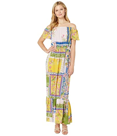 Donna Morgan Mixed Print Off the Shoulder Crepe Maxi Dress (Pale Pink/Olive Multi) Women