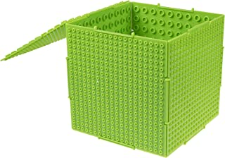 THE CUBE by Strictly Briks- Brick Building Set and Storage Container - 6 Interconnecting Double Sided Large and Small Peg Plates - 17cm x 17cm x 17cm Neon Green - Compatible With All Major Brands - Patent Pending