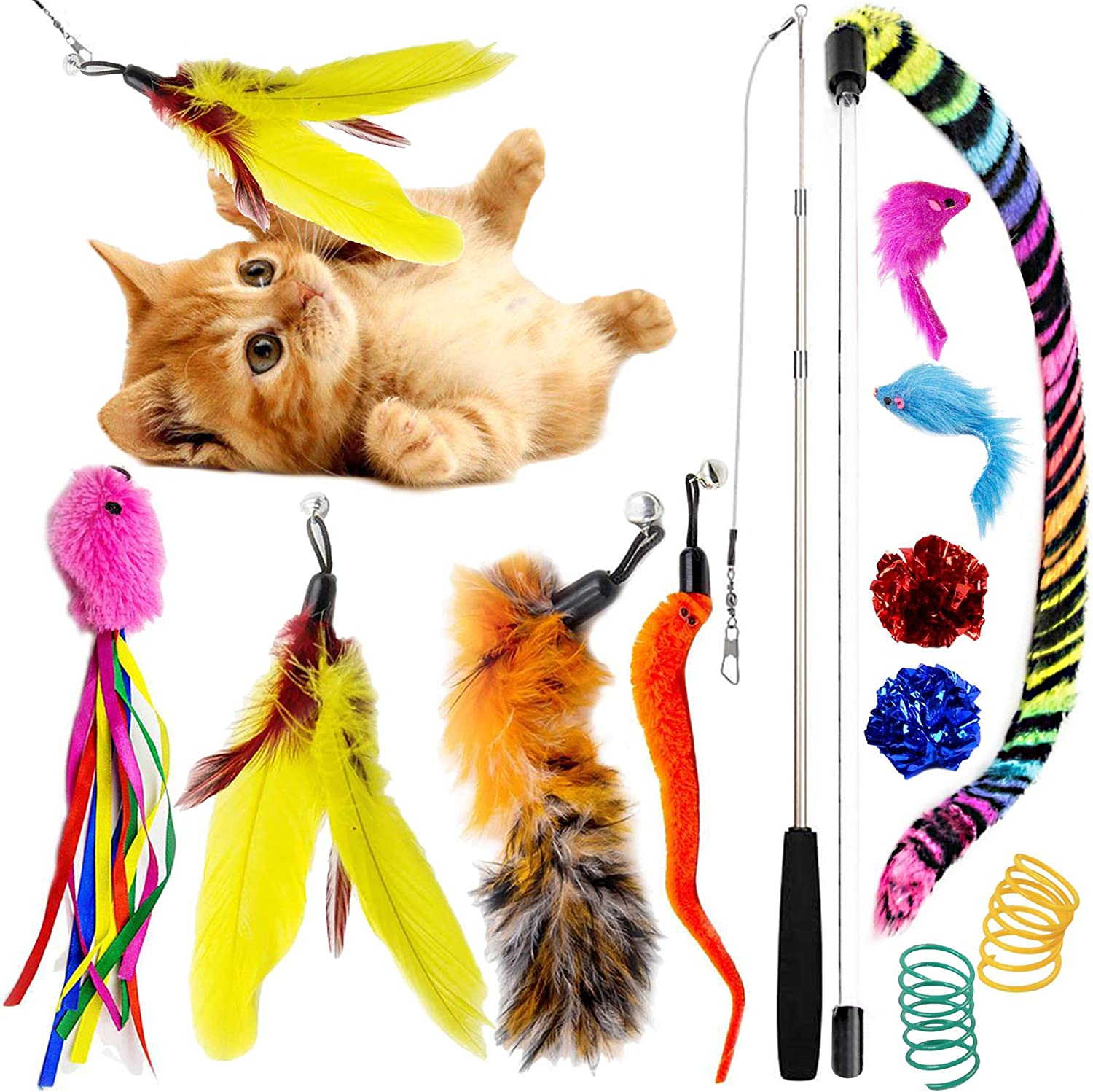 SillyPet Youngever 12 Pieces Cat Teasing Challenge the lowest price of Japan Feather shipfree Toys Toy Retra
