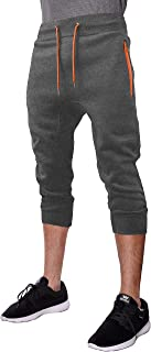 Hat and Beyond Mens Capri Fleece Jogger Zipper Pockets Casual Workout Pants