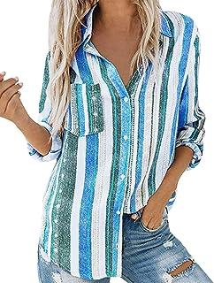 Cotrio Blusa feminina com decote em V vertical listrada blusa com botões soltos