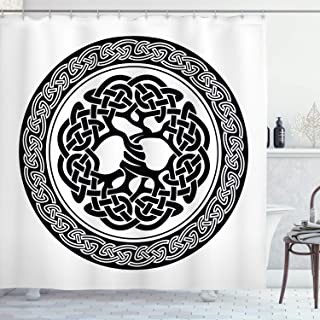 Ambesonne Celtic Shower Curtain, Native Celtic Tree of Life Ireland Early Renaissance Modern Design, Cloth Fabric Bathroom...