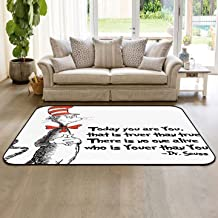 Dr. Seuss Collection Area Rug Indoor Carpets 4'x6' Classic Cat in The Hat Floor Mats for Kids Room Living Room Home Decor