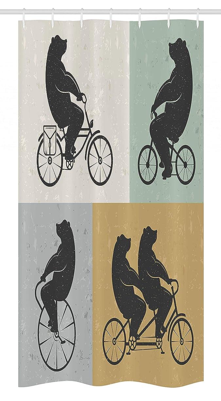 世界の窓姉妹スピンヴィンテージ装飾失速シャワーカーテンで、自転車自転車サイクリングヒップスターサーカスライフ屋外動物の大きなかわいいクマを楽しむ、フック付きファブリックバスルームの装飾セット、、マルチ 165X180 CM