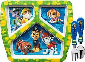 Zak Designs PWPB-2071 Kids Dinnerware Sets, Plate + Flatware, Paw Patrol Boy 3pc