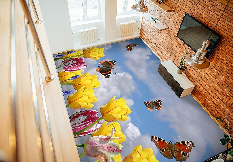 3D Yellow Flower Butterfly 8324 Murals Prin Floor Wall NEW before Las Vegas Mall selling ☆ Wallpaper