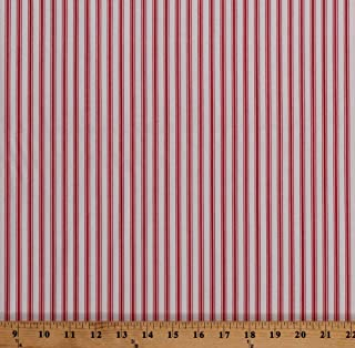 Cotton Red and White Stripes Striped Country Days Cotton Fabric Print by the Yard (4708-26620-REDI)