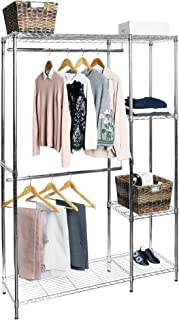 Seville Classics Freestanding Metal Adjustable Double Rod Heavy-Duty Wire Garment Clothes Rack Wardrobe with Shelves, 48