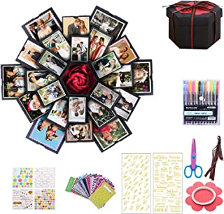Creative Explosion Box DIY Gift,DIY Photo Album Surprise Box,Gift Box with 6 Faces for Wedding Box, Birthday Party,Valentine`s Day and Mother`s Day (Black)