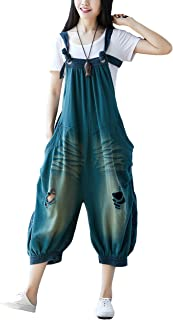 d2f00fdc5a20 Soojun Women s Cotton Baggy Bib Overalls Drop Crotch Harem Pants