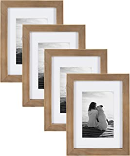 DesignOvation Gallery Wood Photo Frame Set for Customizable Wall or Tabletop Display, Pack of 4, 5x7 matted to 3.5x5, Rustic Brown