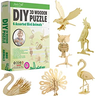 Hands Craft DIY 3D Wooden Puzzle Bundle Set, Pack of 6 Bird Animals Brain Teaser Puzzles   Educational STEM Toy   Safe and...
