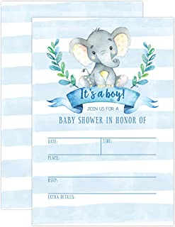 Boy Baby Shower Invitation, Elephant Baby Shower Invitation, Jungle Baby Shower Invite, Tropical Safari Animals Baby Shower, It's a boy, 20 Fill in Invitations and Envelopes