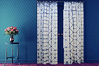 Indian Shibori Curtain, Indigo Sheer Curtain 96 Inches Long, Cotton Curtain, Decorative Door Curtain, Tie Dye Curtain for Living Room, Home Decor Curtain 1 Panel (Pattern 7, 44 x 96 Inches)