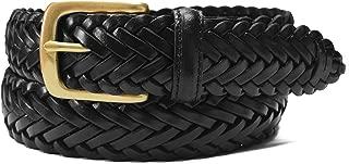 W796 - Women's casual woven herringbone braided leather belt with brass buckle