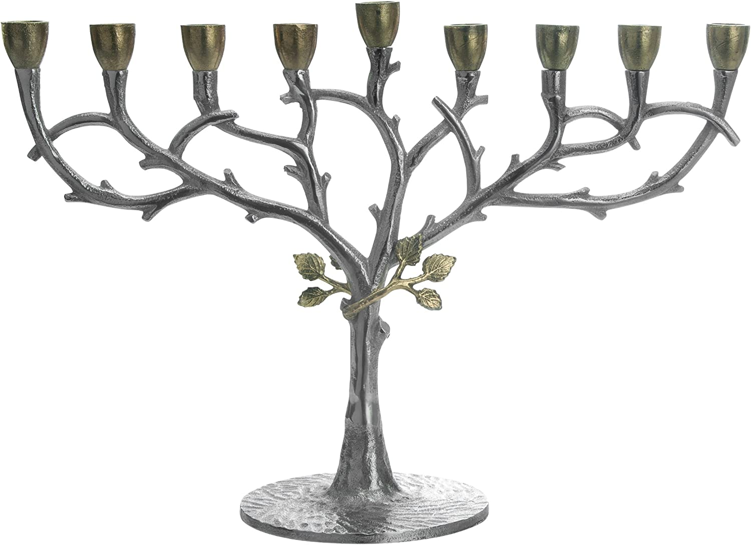 Classic Touch San Diego Mall MIM25 Hammered Popular products Stainless Steel Menorah Oil