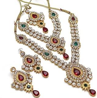 Women's Red & Green AD Necklace Set Bridal Kundan Polki Jadau Handmade Jewelry