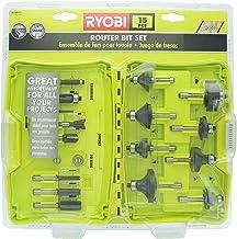 Ryobi A25R151 Conjunto de 15 peças com haste de 1/4 de polegada para roteador de borda de carboneto para madeira