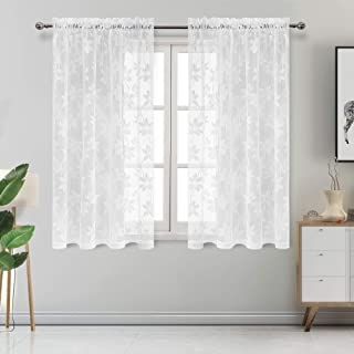 DWCN Floral Lace Sheer Curtains - Rod Pocket Window Voile Sheer Drapes for Bedroom Kitchen Short Curtains 52 x 54 inch Length, Set of 2 White Curtain Panels