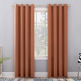 "Sun Zero Barrow Energy Efficient Grommet Curtain Panel, 54"" x 84"", Sienna Orange"