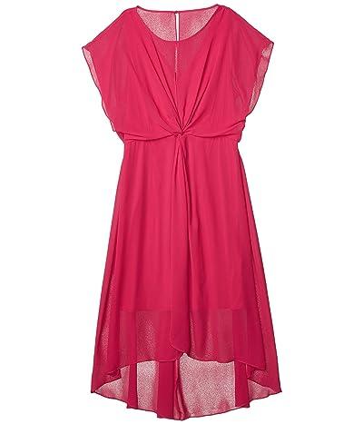 Adrianna Papell Chiffon Overlay Twist Dress (Bright Azalea) Women