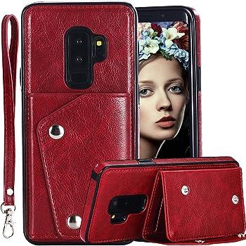 Galaxy S9 Plus Wallet Case for Men/Women,Auker 4 Card Holder Premium Flip Leather Magnet Back Wallet Case with Strap&Cash Pocket Fold Kickstand Slim Fit Protective Purse for Samsung S9 Plus (Red)