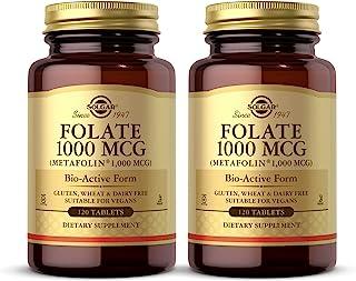 Solgar Folate 1000 mcg DFE, 120 Tablets - Pack of 2-1666 mcg Bio-Active Metafolin - Heart Health - Vegan, Gluten Free, Dai...