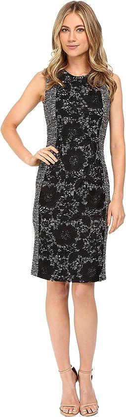 Boucle Sheath Dress w/ Lace