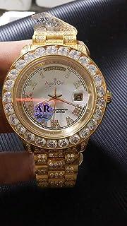 ZYYDTY - Reloj automático Hombres de Marca Mecánico automático Impermeable Oro Amarillo Completo Gran Bisel de Diamantes Reloj de Zafiro de Acero Inoxidable