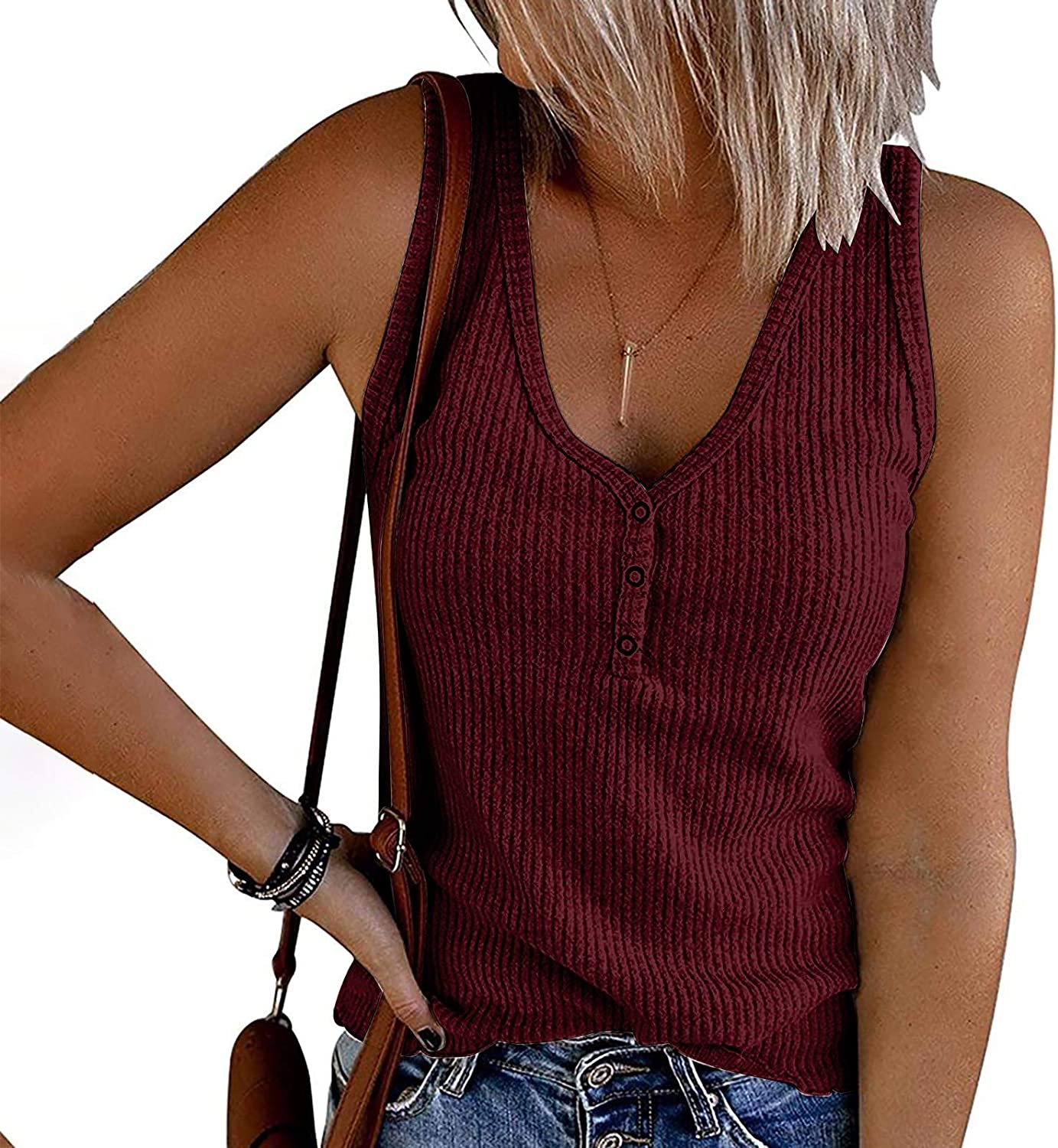 Womens Tank Tops Loose Fit Summer,Womens Waffle Knit Tank Tops V-Neck Sleeveless Summer Casual Button Up Tunic Top