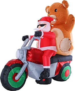 Christmas Masters 7 Foot Long 6 Foot High Inflatable Santa Claus Riding a Motorcycle with Plush Teddy Bear Indoor Outdoor Yard Lawn Decoration with LED Lights - Cute Chopper Xmas Holiday Party Blow Up