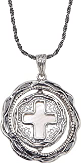 Cross Your Heart' Reversible Mother-of-Pearl Pendant Necklace in Sterling Silver