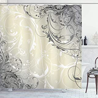Ambesonne Floral Shower Curtain, Baroque Swirled Branches Curved Flower Leaves Elegance Shabby Chic Pattern, Fabric Bathroom Decor Set with Hooks, 75 Inches Long, Egg Shell Grey White