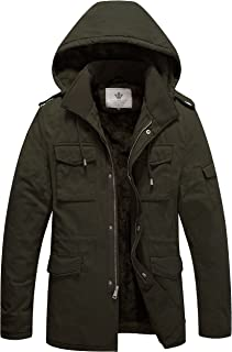 WenVen Men's Military Style Thicken Hooded Jacket