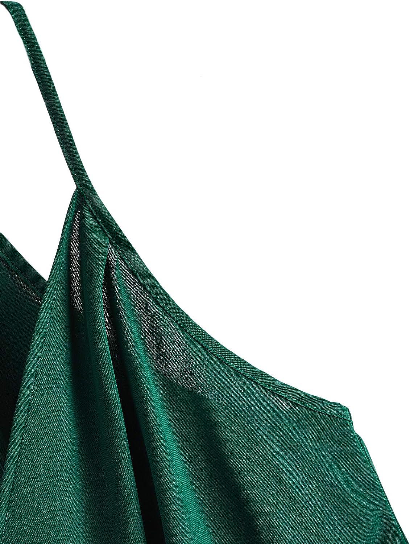 SheIn Women's Sleeveless Twist Front Wrap Cami Tank Top with Spaghetti Strap Tee