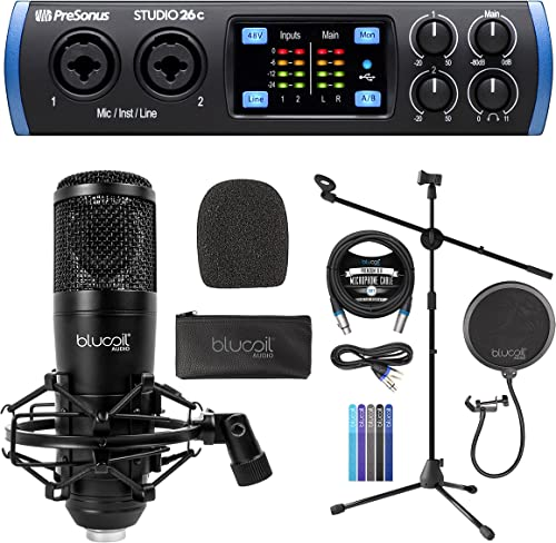 discount PreSonus online sale Studio 26c 2x4, 192 kHz, USB Audio Interface with Studio One Artist Bundle with Blucoil Condenser Studio XLR Microphone, Adjustable Mic Stand, Pop Filter, 10' XLR Cable, and 5x Cable wholesale Ties outlet online sale