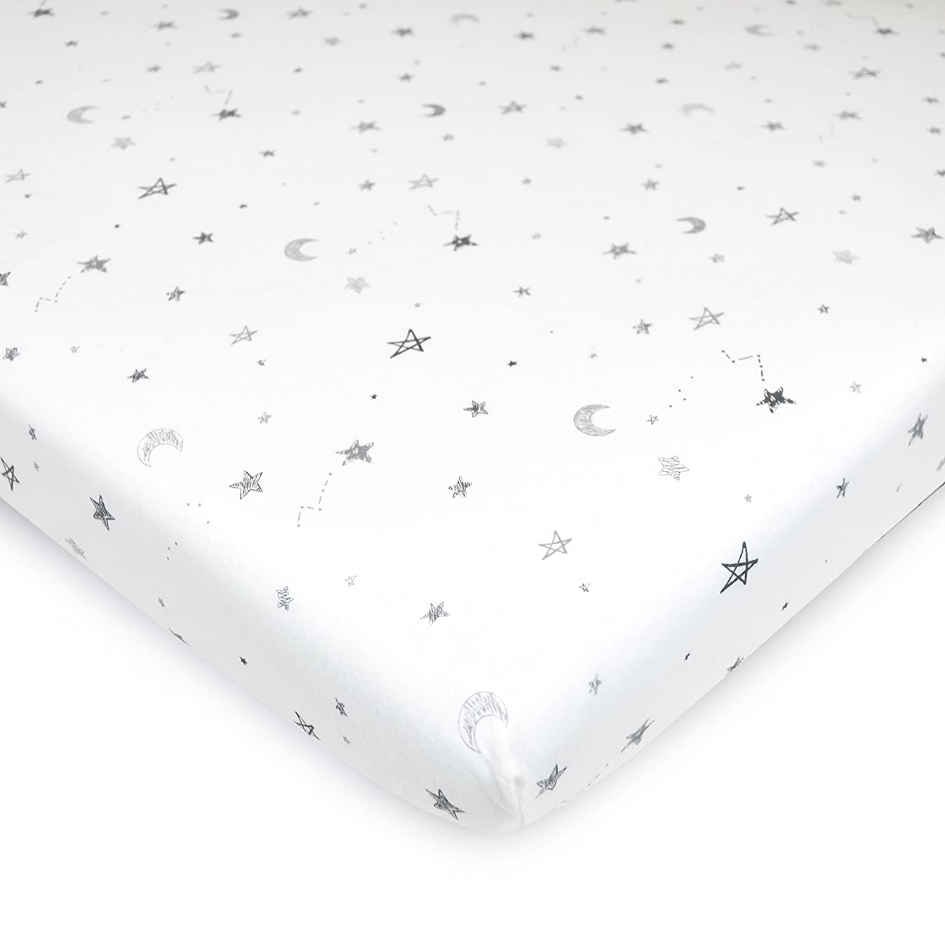 American Baby Company 100% Natural Cotton Value Jersey Knit Fitted Bassinet Sheet, Grey Star and Moon, Soft Breathable, for Boys and Girls