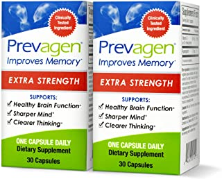 Prevagen Improves Memory - Extra Strength 20mg, 30 Capsules |2 Pack| with Apoaequorin & Vitamin D|Brain Supplement for Bet...