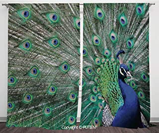 Satin Window Drapes Curtains [ Peacock,Peacock Displaying Elongated Majestic Feathers Open Wings Picture,Navy Blue Green Light Brown ] Window Curtain Window Drapes for Living Room Bedroom Dorm Room Cl
