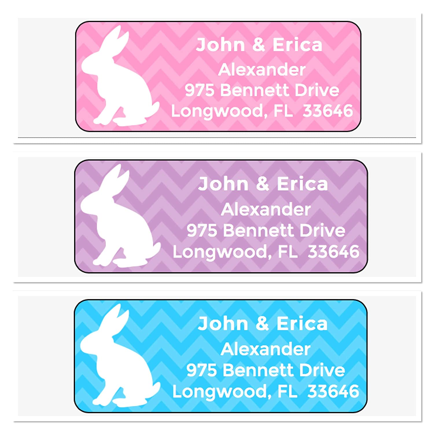 Personalized Address Labels unisex Easter Regular store Bunny 30 Of Chevron Per Set