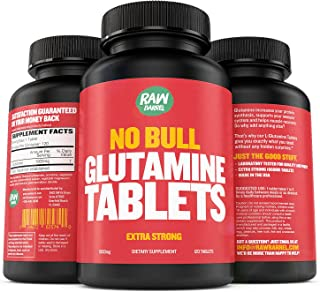 Raw Barrel's Pure L Glutamine Tablets - 120 L-Glutamine Pills at 1000mg - Includes Digital Guide