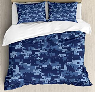 Ambesonne Camo Duvet Cover Set, Retro Composition of Grunge Camouflage Pattern Print in Modern Blue Tones, Decorative 3 Piece Bedding Set with 2 Pillow Shams, Queen Size, Dark Blue