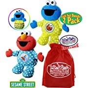 Sesame Street Playskool Friends Snuggle Me Naptime Plush Pals (9.5 ) Elmo & Cookie Monster Gift Set Bundle with Bonus Matty's Toy Stop Storage Bag - 2 Pack