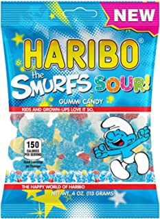 New Haribo The Smurfs Sour! Gummi Candy 4 oz Bag (12 Bags (Full Case))