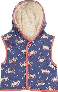 Piccalilly Doublé polaire pour enfants, en coton bio, sherpa bleu unisexe crabe pour garçons et filles