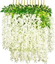 GPARK 12 Pieces Wisteria Artificial Flower 45 inch Bushy Silk Vine Ratta Hanging Garland Hanging for Wedding Party Garden ...